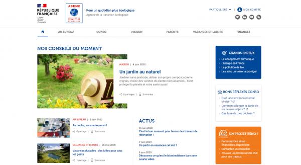 Nouveau site internet de l'Agence de la transition écologique (ADEME) pour les particuliers